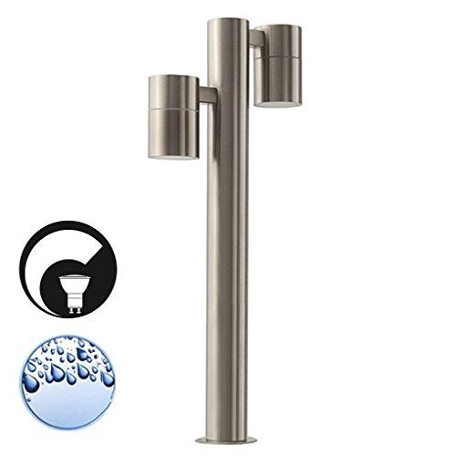 S11 Led (LED Standleuchte, Sockelleuchte, Pollerleuchte, Wegleuchte, Edelstahl, Außenleuchte, IP44, GU10-230V, (Form:S11) (DIMMBAR / Warmweiß))