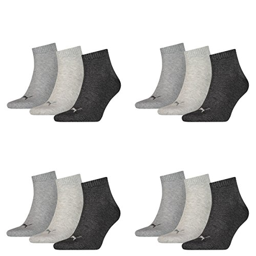 12 Paar Puma Unisex Quarter Socken Sneaker Gr. 35 - 49 für Damen Herren Füßlinge, Farbe:800 - anthraci/l mel grey/m me, Socken & Strümpfe:47-49