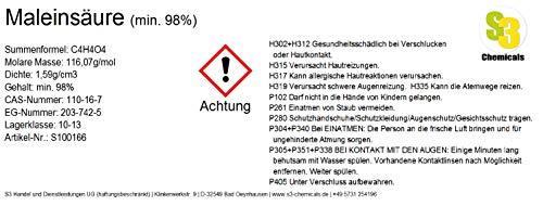 S3 Chemicals Maleinsäure (min. 98%) Gebindegröße 1kg