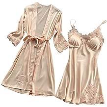 Amlaiworld Lencería de Seda de Mujer Vestido de Bata de Encaje Babydoll camisón de Dormir Conjunto