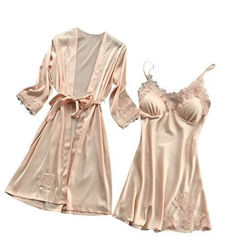 Yazidan Frauen Sexy Satin Pyjamas Silk Lace Sexy V-Ausschnitt Pyjamas Kimono Cardigan Robe Zweiteilige Brautjungfer Brautgeschenke Damengeschenke Single Party Pyjamas Sling Dress (Billig Brautjungfer Roben)
