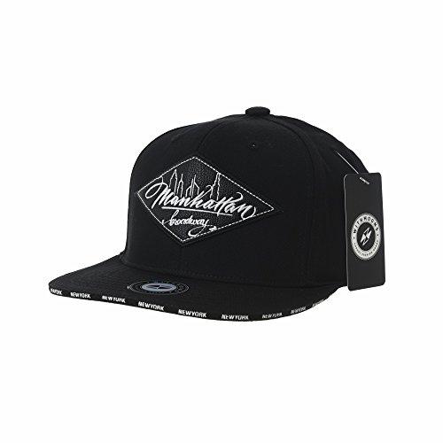 WITHMOONS Baseballmütze Mützen Caps Snapback Hat Diamond Faux Leather Manhattan Patch Flat Brim Cotton Baseball Cap TR2934 (Black) (Yankee Bag Gym)