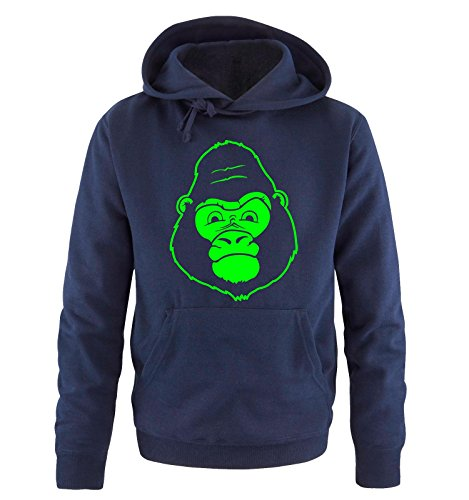Comedy Shirts - GORILLA - Uomo Hoodie cappuccio sweater - taglia S-XXL different colors blu navy / neon verde