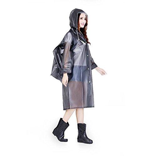 Cystyle wiederverwendbarer Regenponcho �?Regenmantel für Erwachsene mit Ärmel und Aufbewahrungstasche für Regenschutz Schwarz