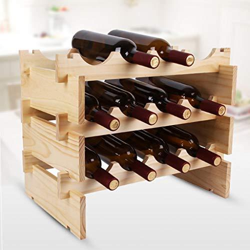 Qivor 3-lagiges stapelbares Weinregal - Aufsatz-Weinregal aus Holz Weinkeller - Freistehend - Perfekte Bar, Weinkeller, Keller, Schrank, Vorratskammer usw. - Platz for 12 Flaschen, Holz -