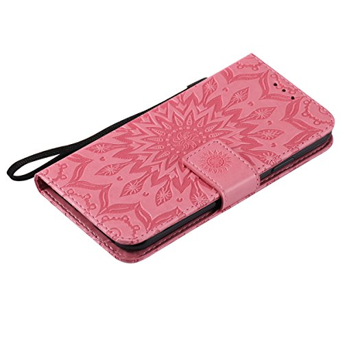 Etsue Cuir Coque Pour iPhone X,Cuir Housse Portefeuille Coque Avec Cordon pour iPhone X,Fashion Mode Conception Coque Étui Support Protecteur Case Magnétique Pochette avec Stand Support Avec des Carte Sunflowers Rose