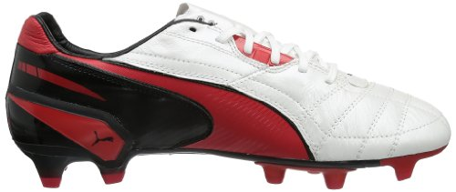Puma King FG Herren Fußballschuhe Weiß (metallic white-high risk red-black 06)