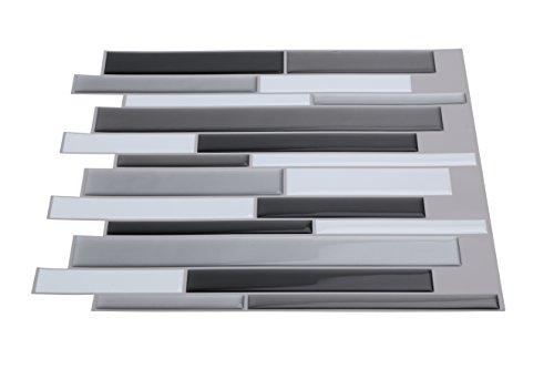"""Wall Crafts 3d sensorial mosaico Peel & stick azulejos 10 pcs cocina/baño Backsplash vinilo adhesivo decorativo para pared, 12 """"x12, color negro, blanco y gris color, plateado …"""