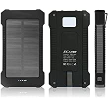 Ecandy 10000mAh Solar Power Bank Dual USB Port ,Rainproof Dustproof Shockproof Solar Charger with LED Lighting and SOS Function for iPhone Samsung Galaxy S6, S6, Edge S5, S4, S3 Cellphone Tablet .(10000mAh negro)