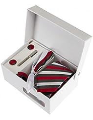 Coffret Cadeau Le Caire - Cravate slim à rayures rouges, gris foncé et blanc satin, boutons de manchette, pince à cravate, pochette de costume