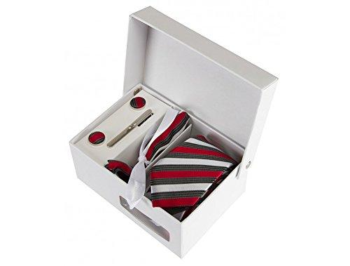 Coffret Le Caire - Cravate slim à rayures rouges, gris foncé et blanc satin, boutons de manchette, pince à cravate, pochette de costume