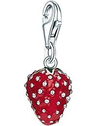Rafaela Donata Charm Collection Damen-Charm Erdbeere 925 Sterling Silber Emaille rot / grün  60600110