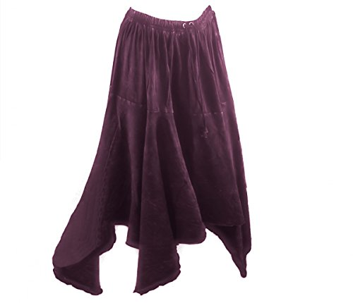 Dark Dreams Gothic Mittelalter Rock Zipfel Witchy Hexe Skirt Pixie Hem alternative Kleidung oliv schwarz weinrot bordeaux 36 38 40 42 44 46 48 Elys, Größe:L/XL, Farbe:bordeaux
