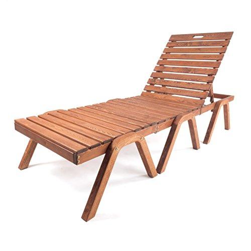 Ampel 24 Pool-Liege Nizza | Liegestuhl mit klappbarer Rückenlehne | 3-Geteilte Sonnenliege aus Holz...