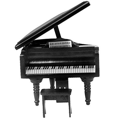 CUTICATE 1:12 Puppenhaus Möbel Miniatur Schwarz Klavier Piano & Hocker Instrument Dekoration Sammlung - Möbel Puppenhaus Miniaturen
