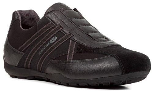 Geox U823FB Uomo Ravex Sportlicher Herren Sneaker, Halbschuh mit Gummizug, Schlüpfschuh, Slipper, Freizeitschuh, Atmungsaktiv Schwarz (Black), EU 43