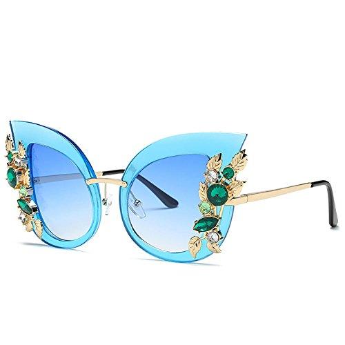 GAOJUAN Womens Sonnenbrille Diamond Cat Eye Sonnenbrille Metall Blätter Retro Sonnenbrille 100{09979e0fa32820e0253c942a405800837f723ece172256b4f8e68a5b283fc1da} UV-Schutz Geeignet Driving Beach Fashion Reisen,Blue