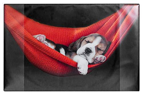Idena 14015 - Schreibunterlage aus Kunststoff mit Zwei Einstecktaschen, Hund, ca. 68 x 44 cm, Mehrfarbig