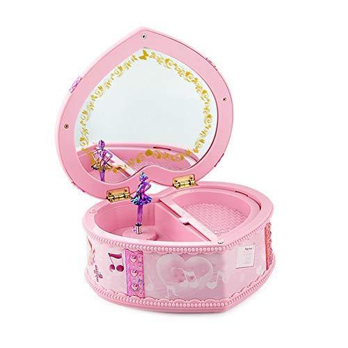 AimdonR Herzförmige Moonlight Musical Box, 360 drehen Swan Lake Tune Schmuckschatulle für Mädchen, Schmetterlingsbogen Design