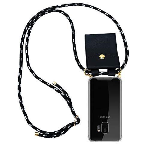 Cadorabo Handy Kette für Samsung Galaxy S9 in SCHWARZ Silber - Silikon Necklace Umhänge Hülle mit Gold Ringen, Kordel Band Schnur und abnehmbarem Etui - Schutzhülle