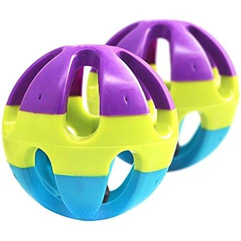 BADALink Perro Tricolor Pequeño Juguete de Plástico Bola Anillo de Alarma Bola Antidepresivo Pet Toys