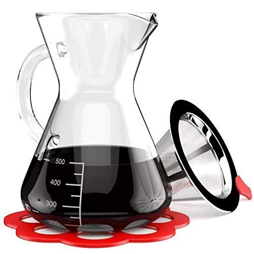 Cafetera Artesana de Vertido - Jarra de vidrio térmico de borosilicato - Filtro reutilizable de acero inoxidable de cono de malla y soporte incluido - Cafetera de goteo Manual de 0.5L con manija