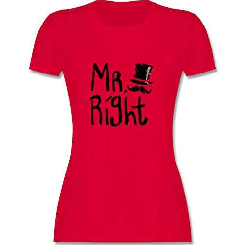 Hochzeit - Mr. Right Pinsel - tailliertes Premium T-Shirt mit Rundhalsausschnitt für Damen Rot