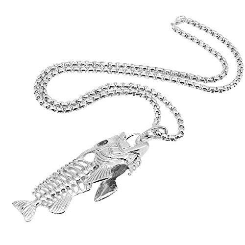 Pinzhi Fishbone Anhänger Gothic Halskette für Männer Frauen Edelstahl Silber (Gothic Make Up Männer)