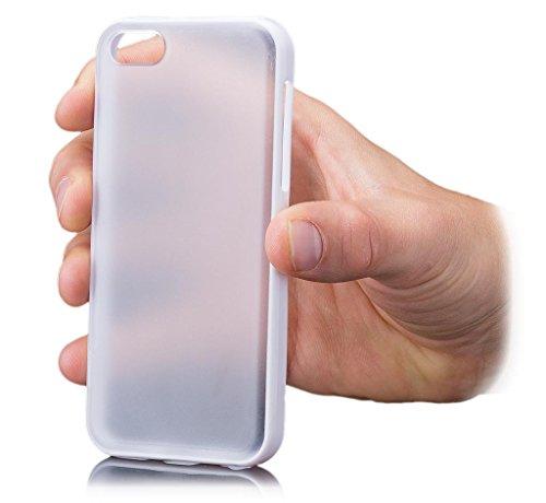 iCues Apple iPhone 5C |  TPU Bumper mit Klare Rückseite Case Hellblau | [Display Schutzfolie Inklusive] Transparent Klarsichthülle Durchsichtig Klare Klarsicht Silikon Gel Schutzhülle Hülle Cover Schu Türkis