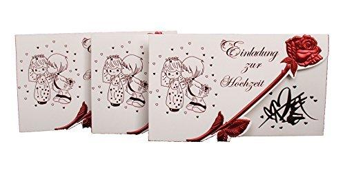 Einladungskarte Hochzeit mit Rose und Pärchen 20er Pack