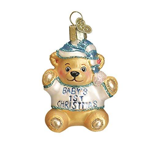 Old World Weihnachten Glas mundgeblasen Ornament mit S-Haken und Geschenk-Box, Baby Kollektion Baby's First Teddy Bear [Blue]