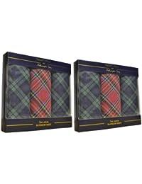 2 lots de luxe de 3 mouchoirs pour hommes Tartan 100% pur coton dans un paquet cadeau