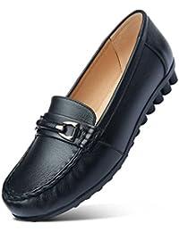 ZCJB Zapatos De Mujer Zapatos De Guisantes Zapatos De Mamá De Cabeza Redonda Zapatos De Cuero Solos Zapatos Planos...