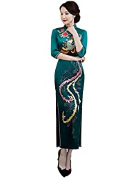 cd0a0c269c7f Xinvision Cinese Donna Cheongsam - Collare in Piedi Retro Stampa Slim Qipao Abito  da Sposa
