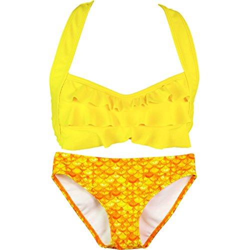 Tief-körper-wellen - (Fin Fun Mermaid - Mädchen Bikini-Set im Wellen-Design - Mermaidens Bademode - Tropischer Sonnenaufgang/Gelb - Mädchen 11 - 12 Jahre)