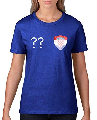 Comedy Shirts - Kroatien Trikot - Wappen: Klein - Wunsch - Damen T-Shirt - Royalblau / Weiss Gr. M (Kroatien-fußball-t-shirt)