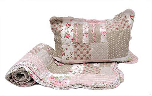 1001 Wohntraum 14D8 Quilt Adele 200 x 230 cm mit Kissen Blumen Punkte Rosen Vintage Plaid
