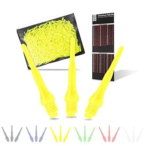 Tindola MAX Dartspitzen Kunststoff, Neongelbe Soft Dart Spitzen Plastik kurz, Darts Spitzen gelb Pfeile 2BA Dart-kurz