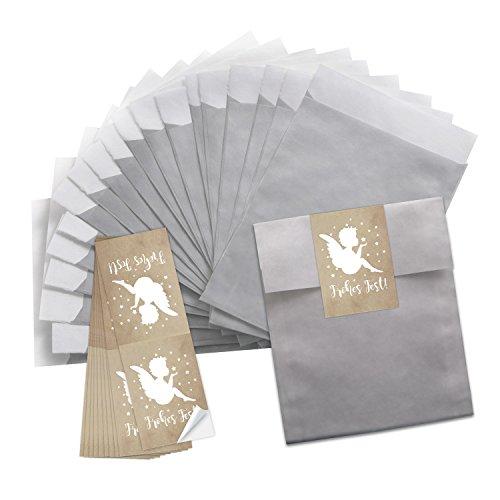10piccoli color argento della carta tuetchen (13x 18cm) + 10angeli di frohes fest marrone beige bianco stelle (5x 15cm) natalizi confezione natale sacchetti di carta confezione natale