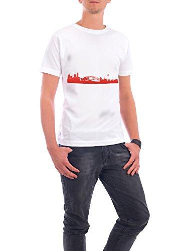 """Design T-Shirt Männer Continental Cotton """"SYDNEY 03 Monochrom Tangerine"""" - stylisches Shirt Abstrakt Städte Städte / Sydney Reise Reise / Länder Architektur von 44spaces Weiß"""