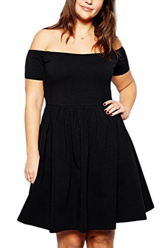 Épreuves féminines Sexy au large de l'épaule Swing Party Dress Black