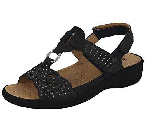 Women's Faux Suede Laser Cut Open Toe Touch Tight Body with Summer Sandals,Black,3 UK -