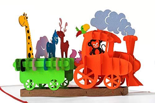 3D Geburtstagskarte - Dampflok Karte für Kinder: Eisenbahn mit bunten Tieren - Handgefertigte Klappkarte mit Umschlag, Pop-Up 3D-Karte zum Geburtstag (Geburtstags-karte 1.)