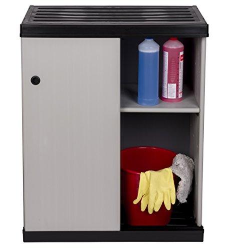 """Mittlerer Kunststoffschrank """"SLIDE"""" mit spritzwassergeschützter Deckel- & Bodenplatte und SCHIEBETÜREN - platzsparend und extra stabil für Innen und Außen"""