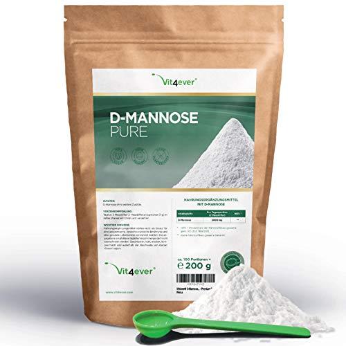 Vit4ever® D-Mannose Pulver - 200 g - 100 Tagesportionen mit 2 g (3,3 Monate Vorrat) - Laborgeprüft - Rein & ohne Zusätze - Hochdosiert & Natürlich - Naturbelassen - Vegan - Mannose