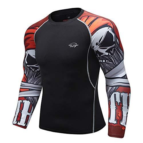 Herren Pullover Schwarz Schnelltrockend Shirt Compression Funktionsshirt Sport Fitness Kompressionsshirt Leicht…