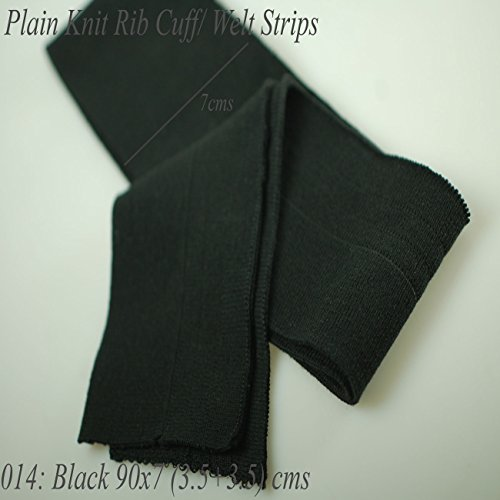 Neotrims Knit Rib Cuff Waistband Plain Stretch Trimming, Bomber Jackets Ribbing Welt and Neck Band Ribs for Jackets, Bombers, or any Apparel Garments Edging. Stretch Resilient Ribs. Limited Stocks, Supplied as 2 Strips, Great Value! - #014 Black 70 X7Cm - 014 Gauge