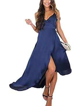 Donna Elegante / Collo Senza Maniche Scialle Lungo Maxi Irregolare Swing Vestito
