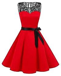bbonlinedress 1950er Ärmellos Vintage Retro Spitzenkleid Rundhals Abendkleid Red M