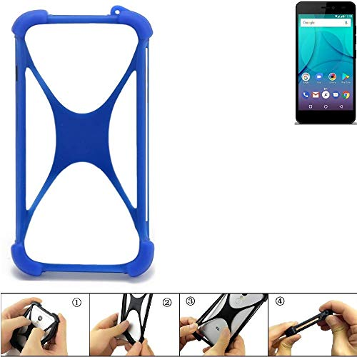 K-S-Trade Bumper für Allview P7 Lite Silikon Schutz Hülle Handyhülle Silikoncase Softcase Cover Case Stoßschutz, blau (1x)